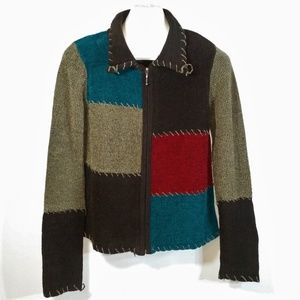 Patchwork Colorblock Fullzip Knit Jacket Teal Red